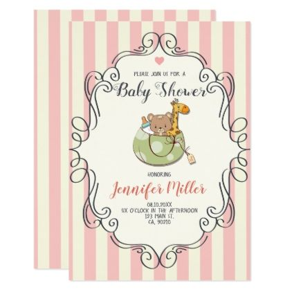 Kawaii Cute Frame Baby Shower Invitation Invitation