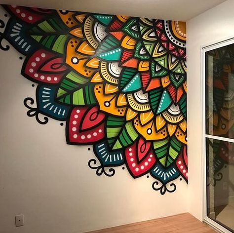 Mandala Wall - just what I want to do in my laundry room! me encanta! me encanta. Yes of curse Example of a mandala as an indoor mural. Colourful Mandalas on Wall No automatic alt text available. Home Decorators Collection Flooring would love this on my c Wall Art Designs, Paint Designs, Wall Design, Design Art, Diy Wand, Mandala Drawing, Mandala Art, Mandala On Wall, Stone Mandala