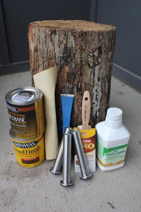 Good instructions and pictures for how to create a tree stump table - let stump dry out for 1 month and treat with Timbor if it has bugs