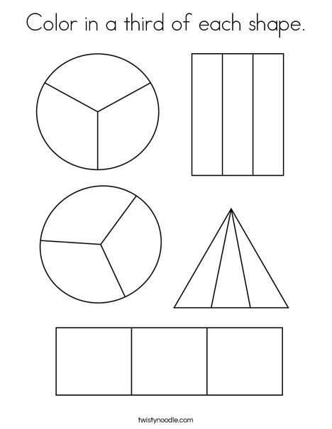 Color In A Third Of Each Shape Coloring Page Twisty Noodle Shape Coloring Pages Teaching Shapes Fractions Fractions of shapes worksheets pdf