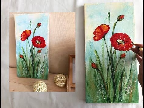 How To Draw Easy Poppies Painting Demonstration Acrylic