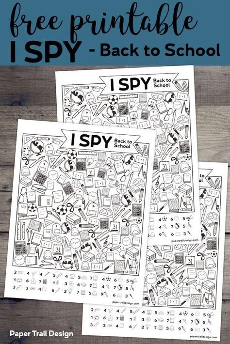 Free Printable I Spy Back to School Activity
