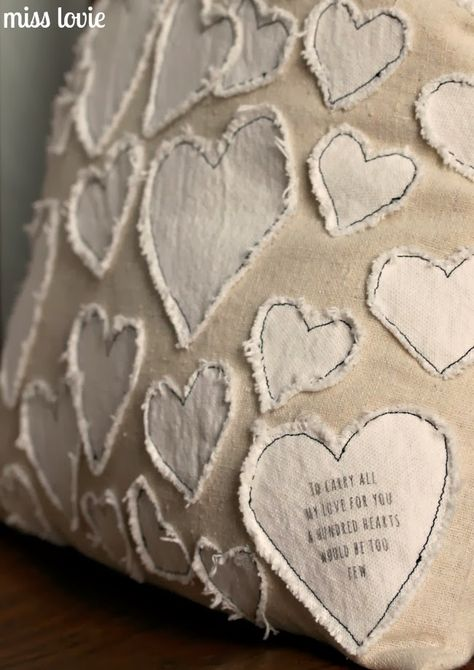 Miss Lovie: Anthro Knockoff Heart Collector Pillow. Need this pillow being a heart lover myself ♥♥♥♥ Fabric Crafts, Sewing Crafts, Sewing Projects, Valentine Decorations, Valentine Crafts, Valentine Pillow, Diy Pillows, Decorative Pillows, Cushions