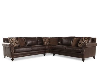 Beautiful Bernhardt Brae Two Piece Leather Sectional