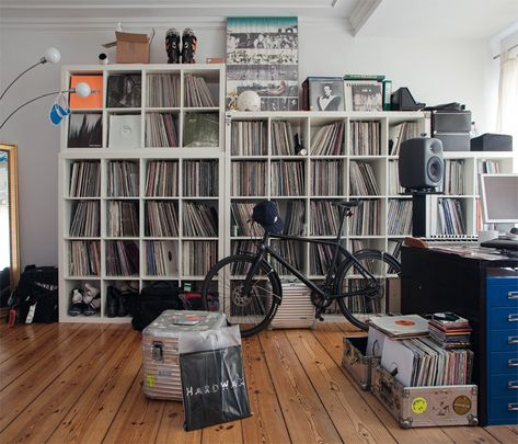 Marcel Dettmann's record collection and a part of his studio.