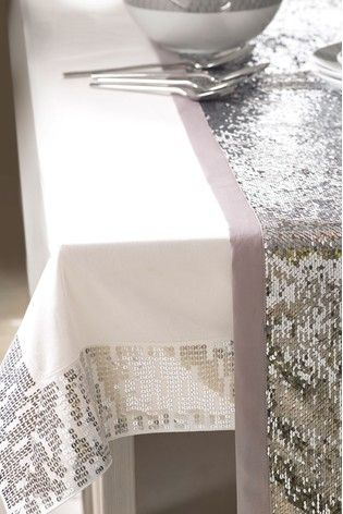 Silver Sequin Table Runner Table Runners Table Linens Table