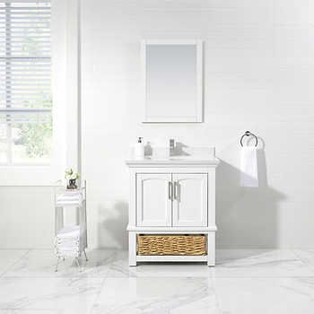 Vanity With Wicker Basket By Ove Decors