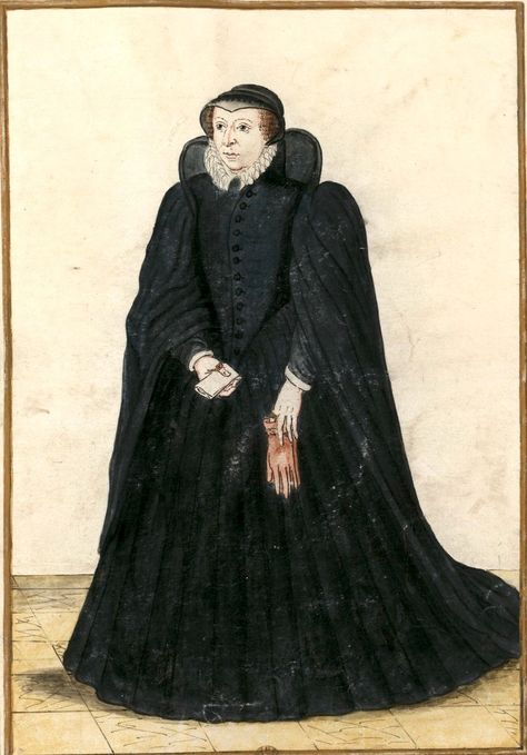 Catherine de Médicis, reine de France, †1589. Dessin d'un portrait original (Gaignières 952). -- «Caterine de Medicis femme de Henry II Roy de France, fut mariée en 1549 mourut au Chasteau de Blois le 5. Janvier l'an 1589…»