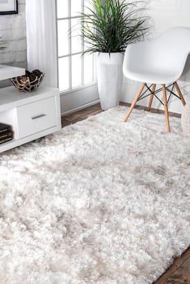 Rugs USA Pearl White Silvics Silky Shine Solid Shag rug - Shags Rectangle x White Fluffy Rug, White Shag Rug, White Area Rug, White Rugs, Grey And White Rug, White White, White Carpet, Carpet Styles, Rugs Usa