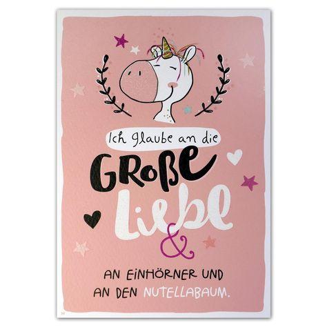 """Hope & Gloria Postkarte »Nutellabaum« """"Ich glaube an die große Liebe & an Einhörner und an den Nutellabaum."""" -"""
