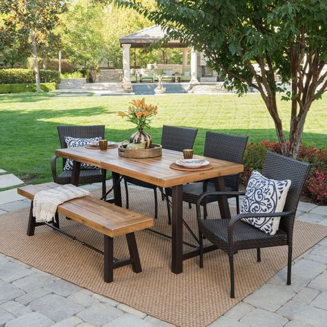 Great Deal Furniture Belham Outdoor 6 Piece Teak Finished Acacia Wood Dining Set with Multibrown Wicker Dining Chairs and Crème Water Resistant Cushions Outdoor Dining Set, Outdoor Areas, Outdoor Tables, Outdoor Living, Outdoor Decor, Patio Dining Sets, Garden Dining Set, Dinning Set, Garden Table