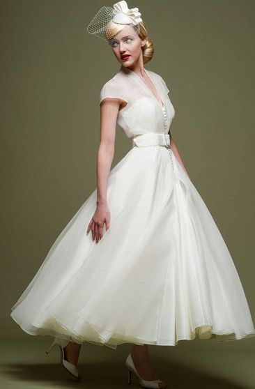 Plunged Lace Sleeveless Tea-length Wedding Dress With Illusion back - Dress Afford