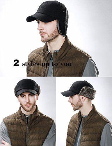 Mens Thick Wool Winter Baseball Visor Cap Faux Fur Earflap Warmer Black Lagre