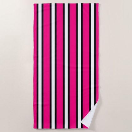 Black Hot Pink And White Vertical Stripes Beach Towel Zazzle Com