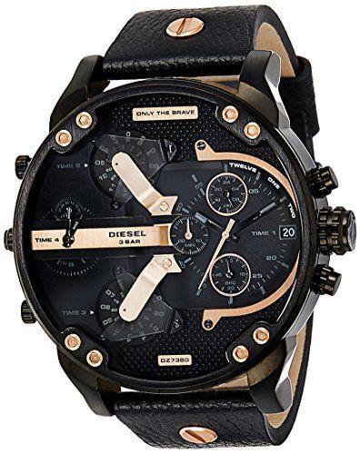 Diesel Men S Dz7350 Mr Daddy 2 0 Black Ip Black Leather Watch Clout Designer Cloutclothes Com Diesel Uhr Uhren Herren Uhren