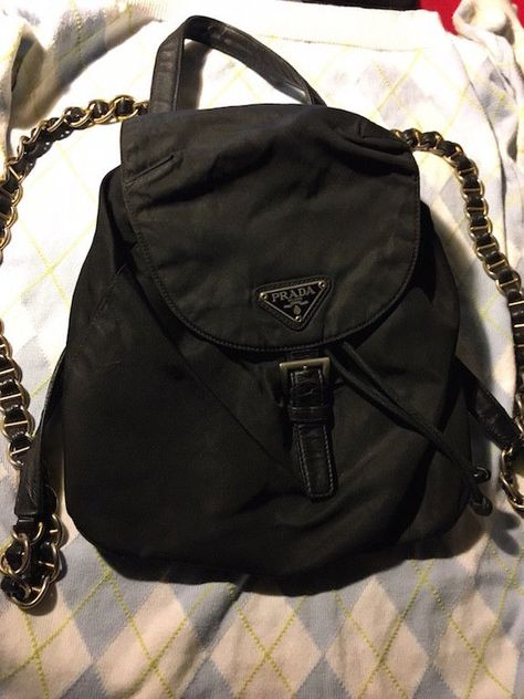 a043ae570c5e 100% Authentic PRADA Black Gold Chain Nylon Backpack Purse Nero Bag Tote  NICE