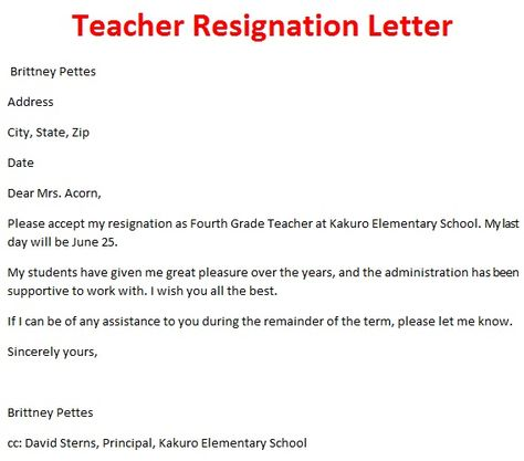 Sample School Resignation Letters Letters Of Resignation Weeks