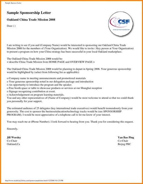 sample proposal letter for sponsorship request template - letter of sponsorship template