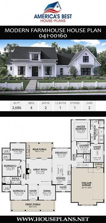 A Gorgeous 1 Story Modern Farmhouse Plan 041 00160 Is Designed With 2 686 Sq Ft 4 Bedro House Plans Farmhouse Modern Farmhouse Plans Farmhouse Floor Plans