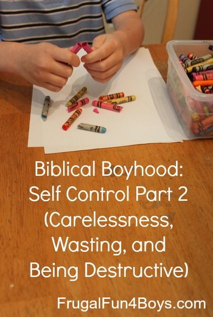 Biblical Boyhood: Self Control Part 2 (Carelessness, Wasting, and Being Destructive) - Frugal Fun For Boys and Girls