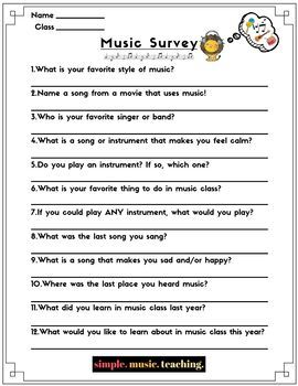 Back To School Music Survey For Elementary Music Class
