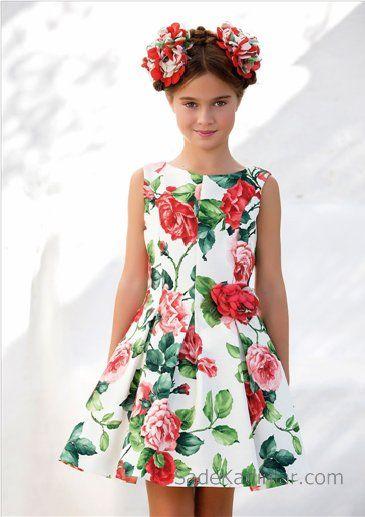 10 Yas 2020 Kiz Cocuk Abiye Elbise Modelleri Beyaz Kolsuz Kayik Yaka Desenli Klos Etekli The Dress Elbise Modelleri Elbise