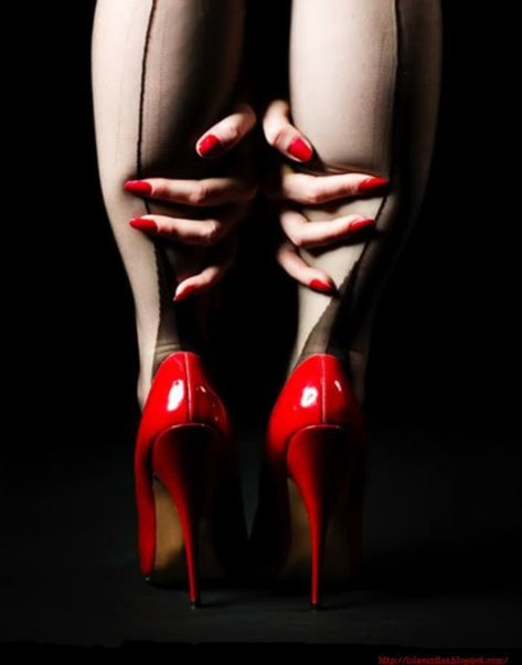 red high heels and seamed stockings