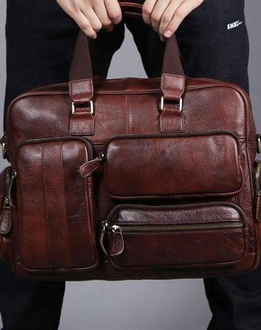 b97da3ed94 Leather Mens Large Briefcase Work Bag Travel Bag Business Bag for ...
