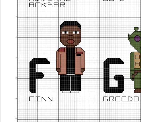 Star Wars Alphabet - The A-Z of Star Wars Characters PDF only Cross Stitch Pattern - Sampler - Darth Vadar, Yoda, Luke Han Solo, R2-D2, BB-8