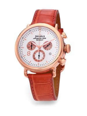 4f0da348794 Shinola Runwell Rose Goldtone PVD Stainless Steel   Leather Strap Watch  Cheap