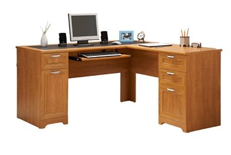 Realspace Magellan Collection L Shaped Desk Honey Maple By Office Depot Officemax L Shaped Office Desk L Shaped Desk Office Desk
