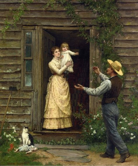 View The homecoming by Jennie Augusta Brownscombe on artnet. Browse upcoming and past auction lots by Jennie Augusta Brownscombe. Munier, Fan Art, Western Art, Pilgrim, Beautiful Paintings, Vintage Art, Art History, 19th Century, Illustrations