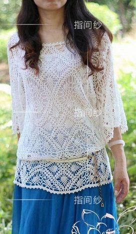 Tricotar túnica de crochê. Verão túnica de crochê tamanho universal a partir de h / fio de algodão em branco. esquema de tricô túnicas de crochê.