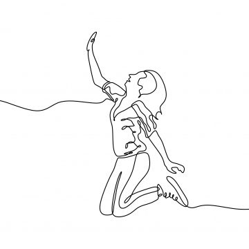 Continuous Line Drawing Of Jumping Girl A Woman Jump Looks Happy With Toss Hand Sign Sketch Illustration Jump Png And Vector With Transparent Background For Line Drawing Continuous Line Drawing Hand