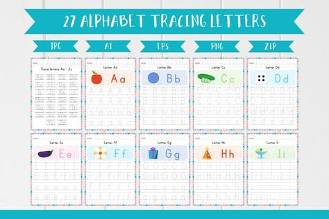 27 Alphabet English Worksheets, Trace the Letters A4 size (1004524) | Educational | Design Bundles