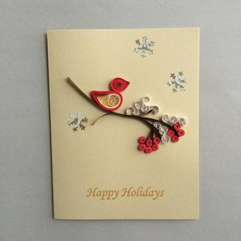 Quilled Holiday cards set of 5   Etsy