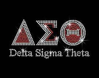 Delta Sigma Theta AEO Rhinestone Bling Transfer T shirt