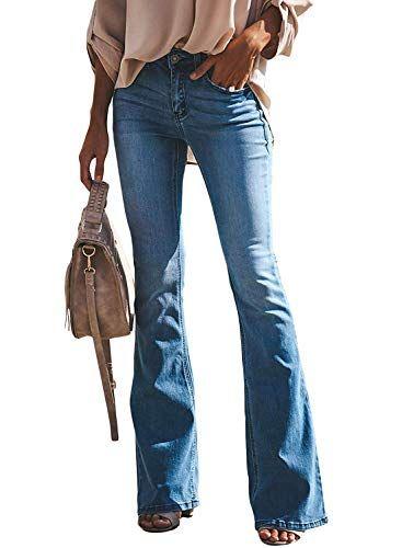 Minetom Mujer Pantalones Vaquero Skinny Push Up Pantalones Elastico Jeans Cintura Alta Pantalones De Piernas Anchas Jeans Pata De Elefante Vaqueros Con Curvas