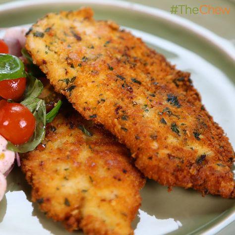 "Michael Symon's Chicken Scallopini with Tomato Mozzarella Salad #TheChew. Use GF crackers to make the ""Panko""."