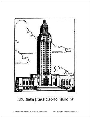 Louisiana Magnolia Coloring Page Louisiana State Capitol