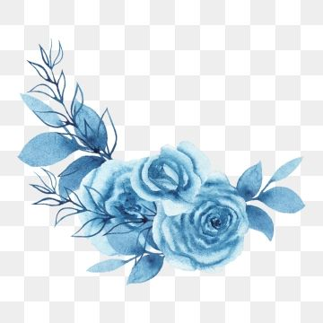 2020 的 Watercolor Blue Floral Bouquet Wreath Watercolor