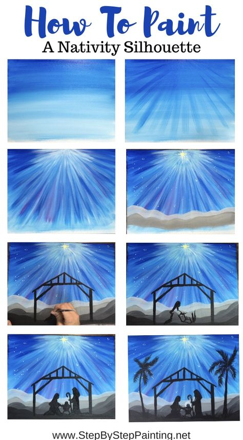 How To Paint A Nativity Silhouette With Acrylics For Beginners : Nativity Silhouette Painting - Step By Step Painting Canvas Painting Tutorials, Easy Canvas Painting, Diy Canvas, Canvas Art, Canvas Paintings, Canvas Crafts, Painting Art, Christmas Paintings On Canvas, Christmas Canvas