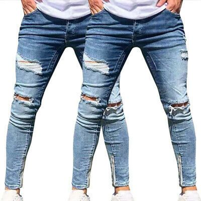 Men Slim Jeans Old Shredded Casual Feet Ripped Skinny Strech Casual Jeans Pants
