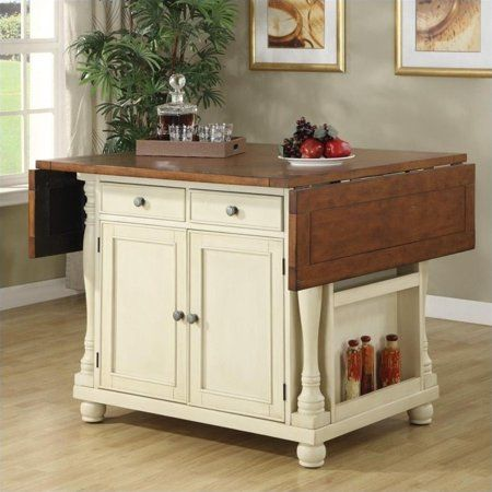 Slater 2 Drawer Kitchen Island With Drop Leaves Brown And Buttermilk Walmart Com Kitchen Island Furniture Portable Kitchen Island Kitchen Island With Seating