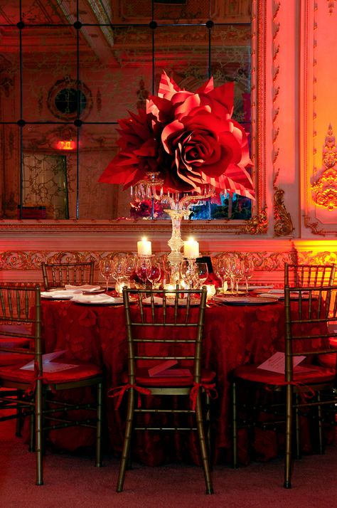 Red Cross Ball, Palm Beach | Rafanelli Events Floral paper design decor, decorations, flowers, big