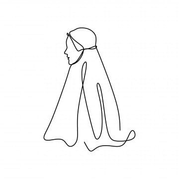 Trendy Hijab Girl One Line Drawing Single Line Lines Scarf Png And Vector With Transparent Background For Free Download Line Drawing Logo Online Shop Islamic Art Canvas