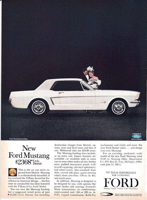 1964 Ford Mustang NEW-289 CI V-8 Cost 2368-Original 13.5 | Etsy