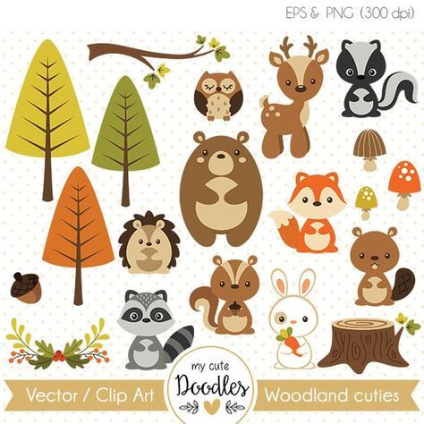 Woodland Animals Clip Art Forest Animals Vector Cute Fox Deer Bear Raccoon Wreaths Autu Woodland Party Decorations Woodland Clipart Woodland Animals