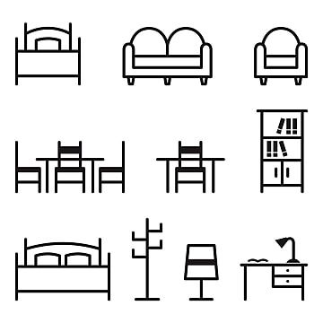 Line Icon Set Of Living Room And Bedroom Furniture Armchair Bed Bedroom Png And Vector With Transparent Background For Free Download Icon Set Line Icon Pin Map