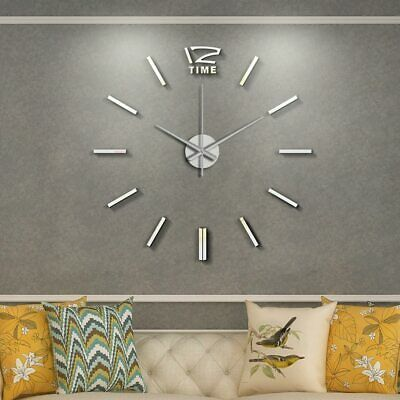 Details About New Modern Diy Large Wall Clock 3d Mirror Surface